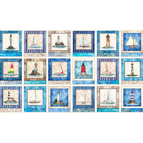 Smooth Sailing Panel 27158-E Nautical Patches by Dan Morris for QT Fabrics