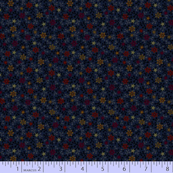 Primitive Traditions 71006-0110 Navy by Pam Buda for Marcus Fabrics