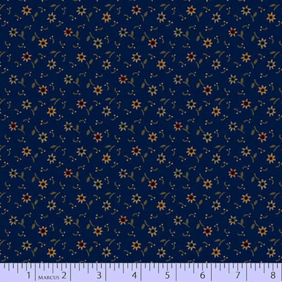 Primitive Traditions 71013-0110 Navy by Pam Buda for Marcus Fabrics