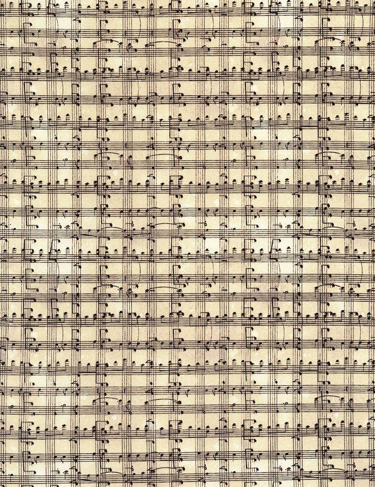 Row by Row C5935 Cream Music Notes Grid from Timeless Treasures