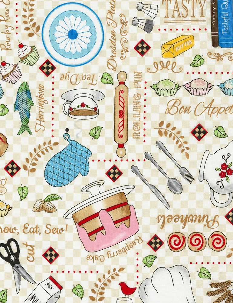 Row by Row C6794 Cream Bon Appetit by Debra Gabel for Timeless Treasures