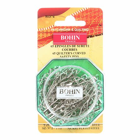 Curved Safety Pins Size 1-1/2 Bohin 65 ct