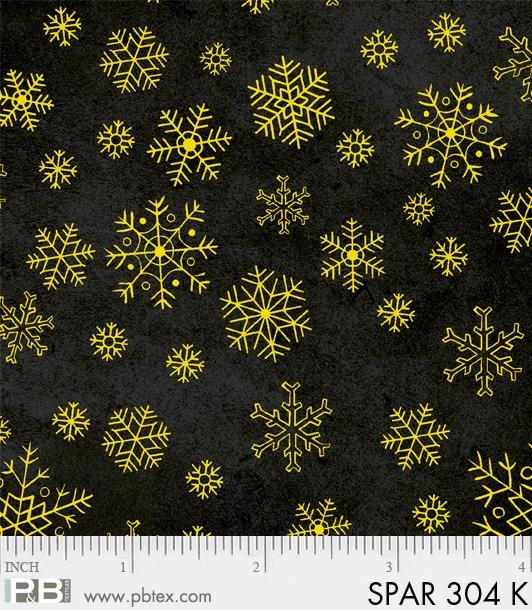 Sparkle Suede SPAR 304 K Gold on Black Snowflake from P & B Textiles