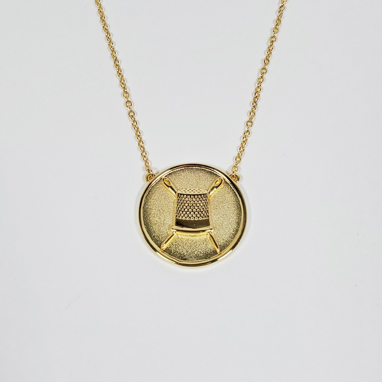 Thimble Coin Pendant Necklace Gold from the Quilt Spot