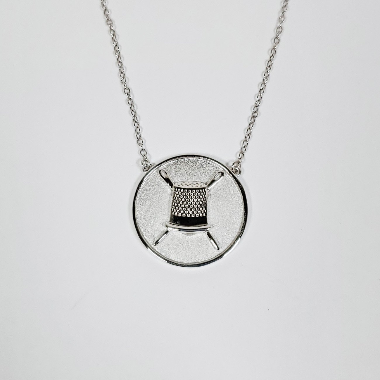Thimble Coin Pendant Necklace Silver from the Quilt Spot