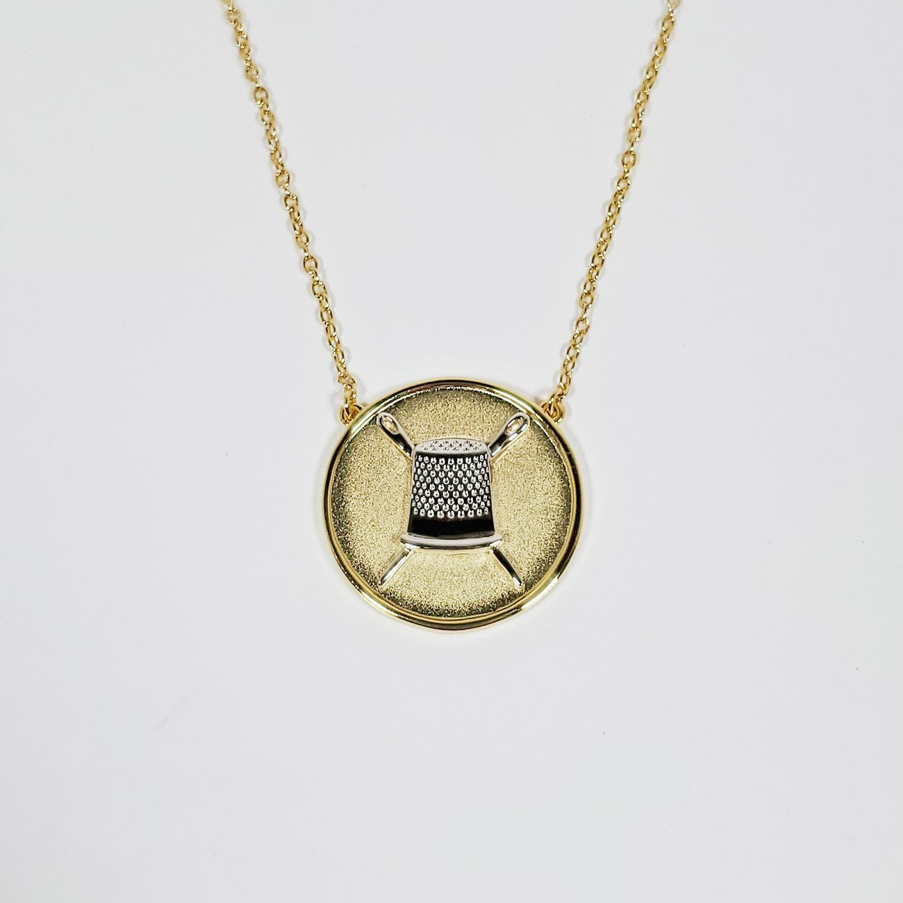 Thimble Coin Pendant Necklace Two Toned Gold/Silver from the Quilt Spot