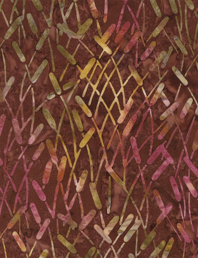 Batik Tonga Cattails B3174 Sienna Timeless Treasures