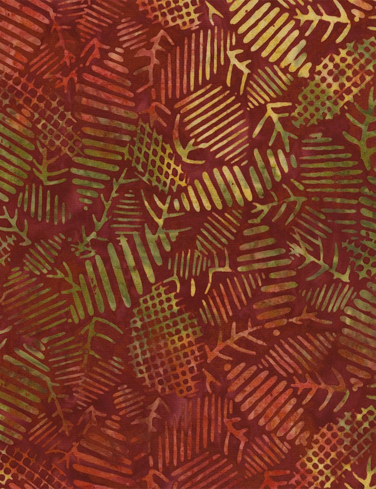 Batik Tonga Textured Leaves B3838 Merlot Timeless Treasures