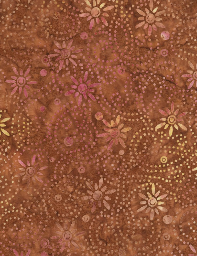 Batik Daisy Chain Tonga B4574 Copper Timeless Treasures