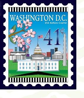 Washington DC Mini Stamp Panel by Zebra Patterns