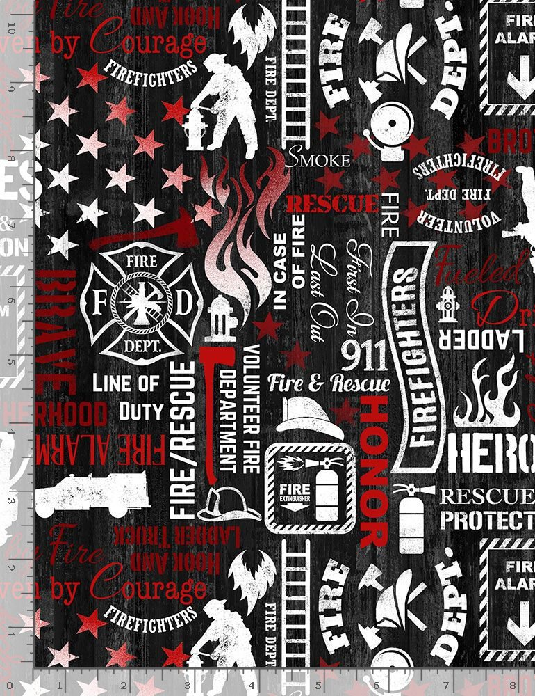 Firefighter C7732 Words Black from Timeless Treasures Fabrics