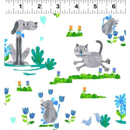 Animal Magic Y2892-6 Gray Dog & Cat by Tracey English for Clothworks