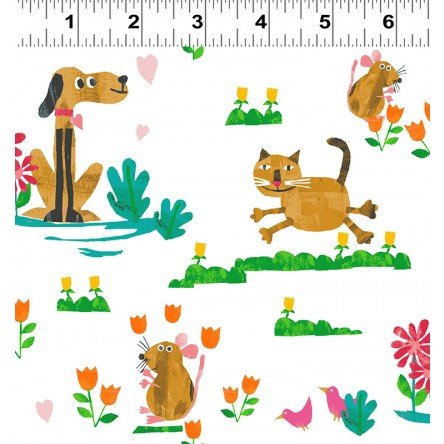 Animal Magic Y2892-69 Gold Dog & Cat by Tracey English for Clothworks