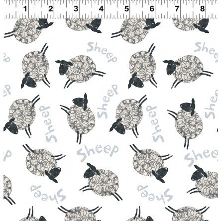 Animal Magic Y2893-1 Sheep White by Tracey English for Clothworks