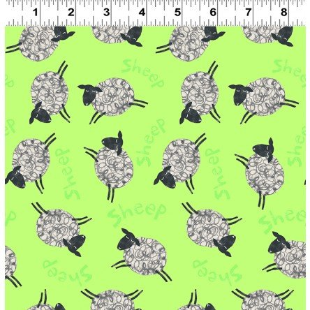 Animal Magic Y2893-18 Sheep Lime by Tracey English for Clothworks