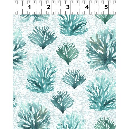 By the Seashore Y2962-103 Teal Coral Reef for Clothworks