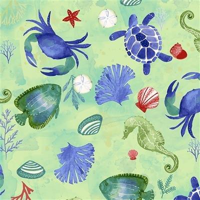 Sanibel Y3205-110 Mint Sealife by Sue Zipkin for Clothworks