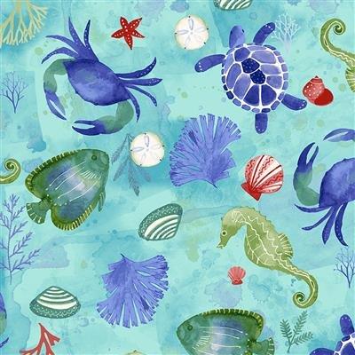 Sanibel Y3205-33 Aqua Sealife by Sue Zipkin for Clothworks
