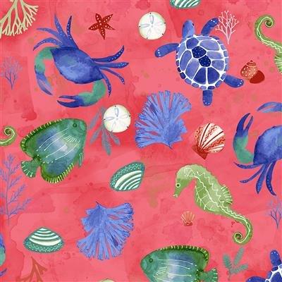 Sanibel Y3205-74 Raspberry Sealife by Sue Zipkin for Clothworks