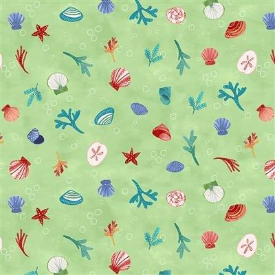Sanibel Y3206-23 Light Olive Sea Shells by Sue Zipkin for Clothworks
