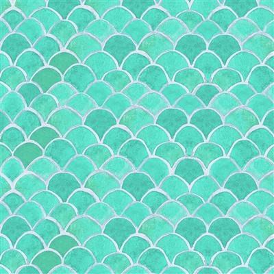 Sanibel Y3207-33 Aqua Fish Scales by Sue Zipkin for Clothworks