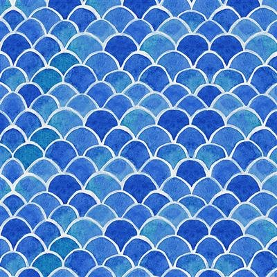 Sanibel Y3207-91 Light Royal Blue Fish Scales by Sue Zipkin for Clothworks