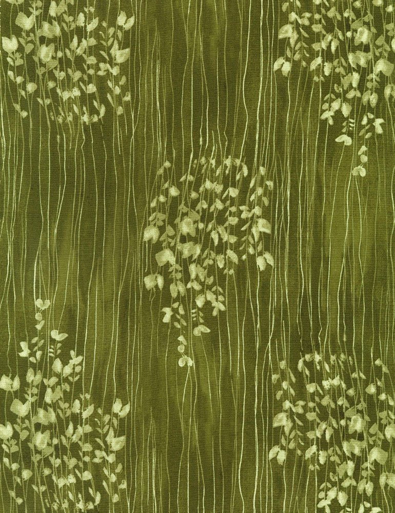 Zephyr C5702 Green Sprigs Stripe by Alice Kennedy for Timeless Treasures