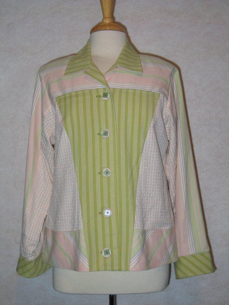 Jambalaya Jacket - Pink/green Moda stripes