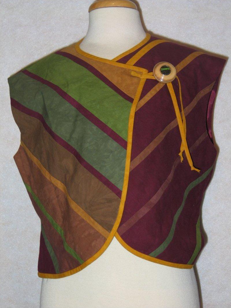 City Wraps Vest - Burgandy/green Cherrywood cotton