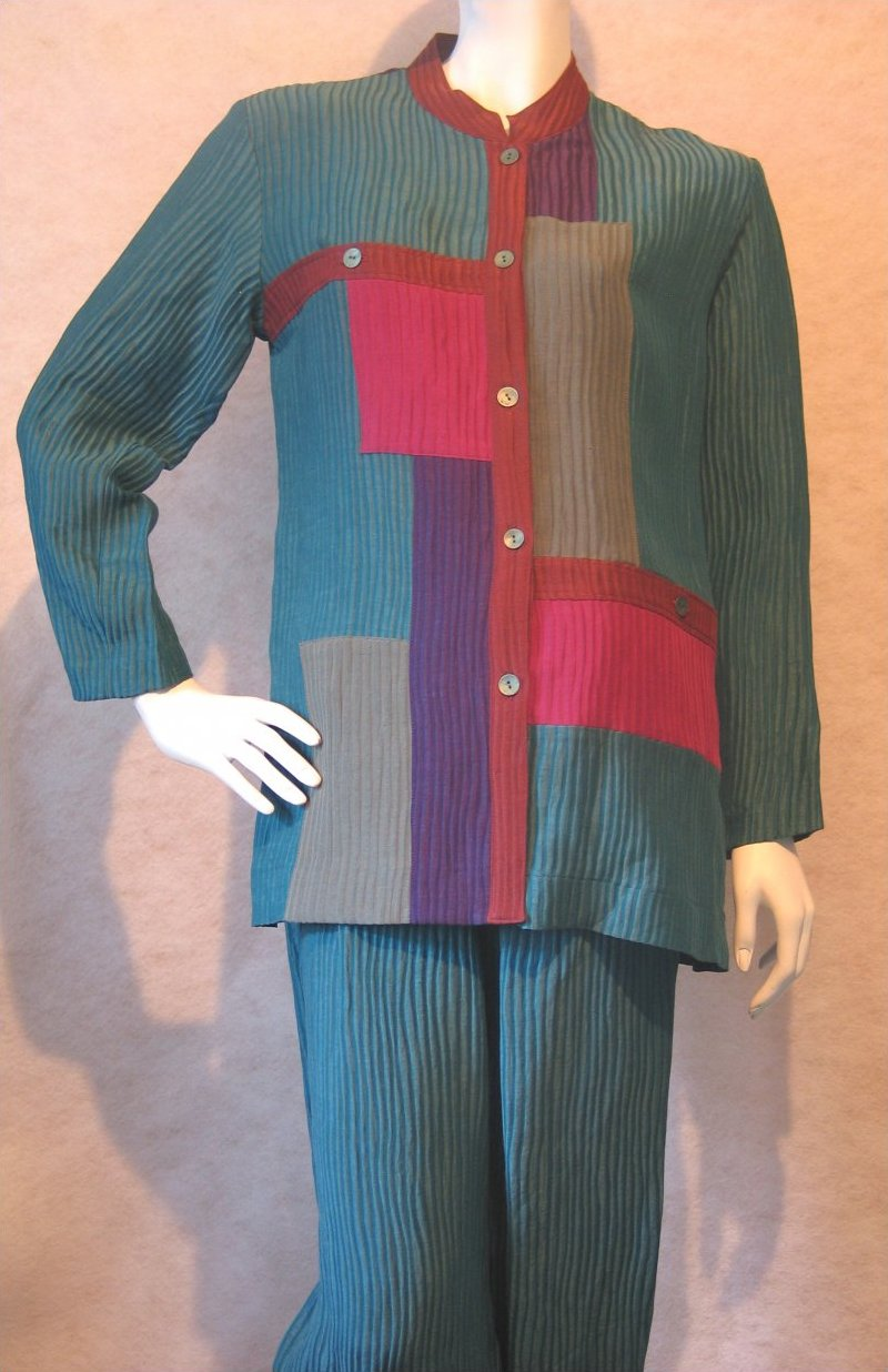Talk of the Town,Teal, Magenta Ribbed Silk Linen