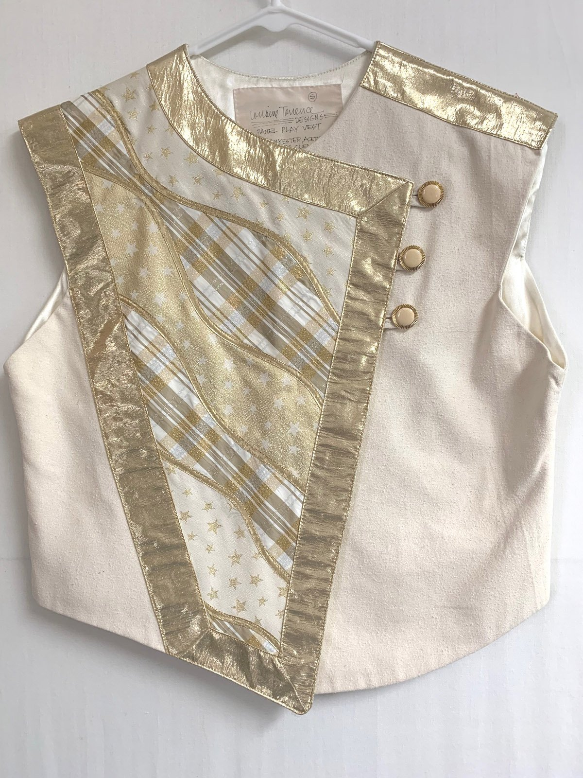 Ivory and Gold Panel Play Vest, Small