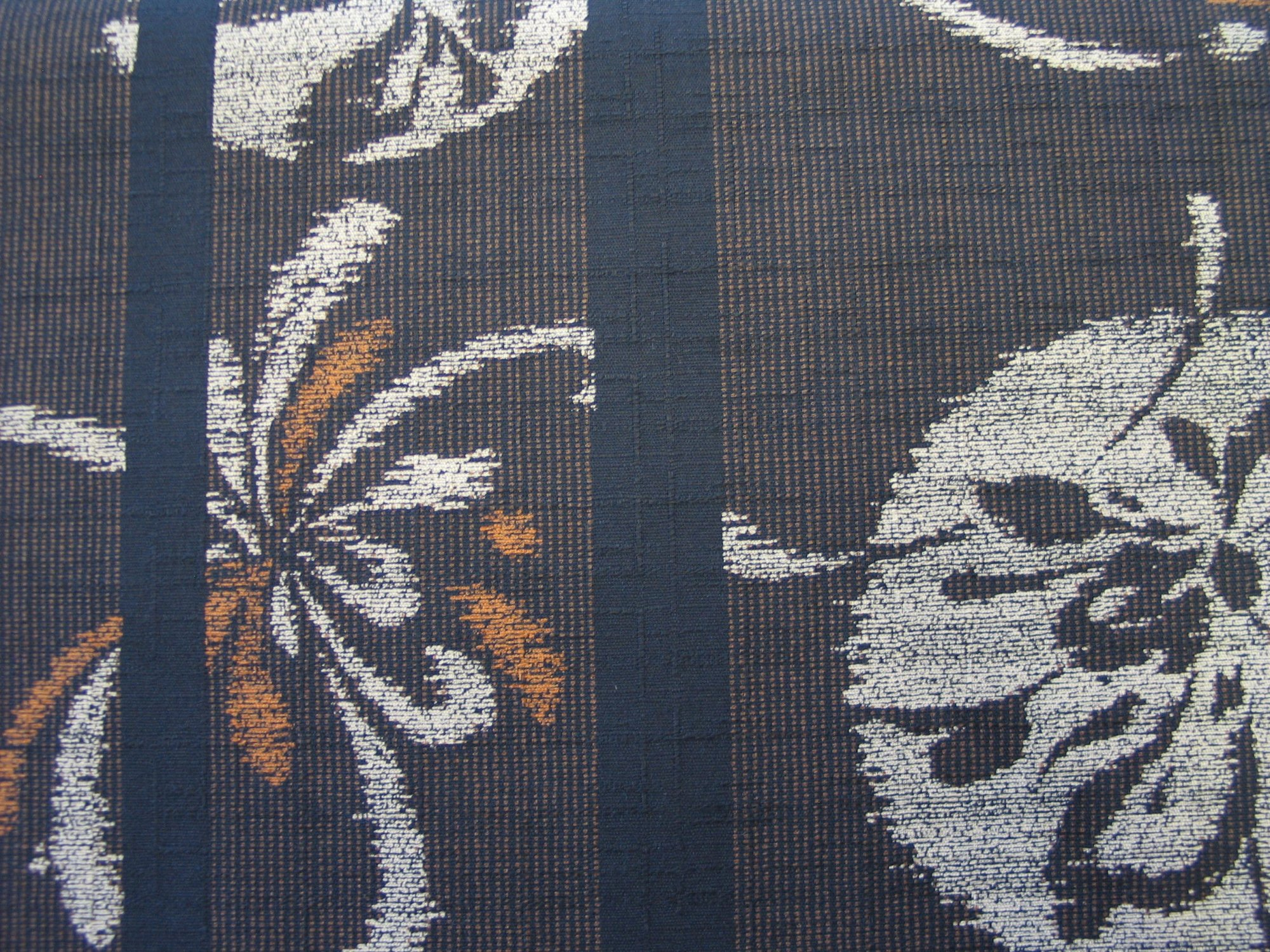 Indigo Stripe Dobby with Gray/Rust Crest and Flower Motif