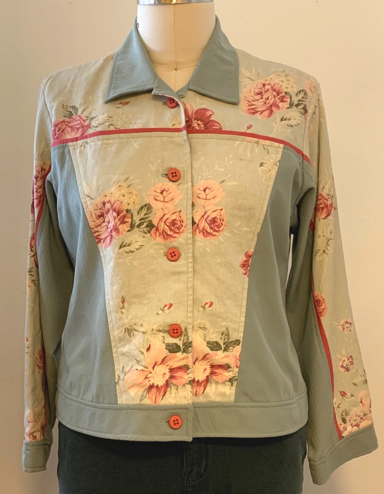Jambalaya Jacket, View 2, L, Soft Green Floral Linen with Mid Green Dobby