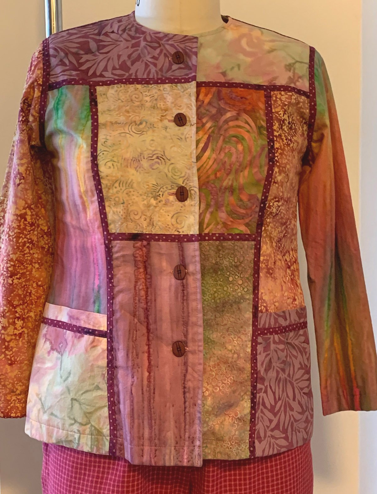Red Violet Mix Breezy Block Jacket, Small
