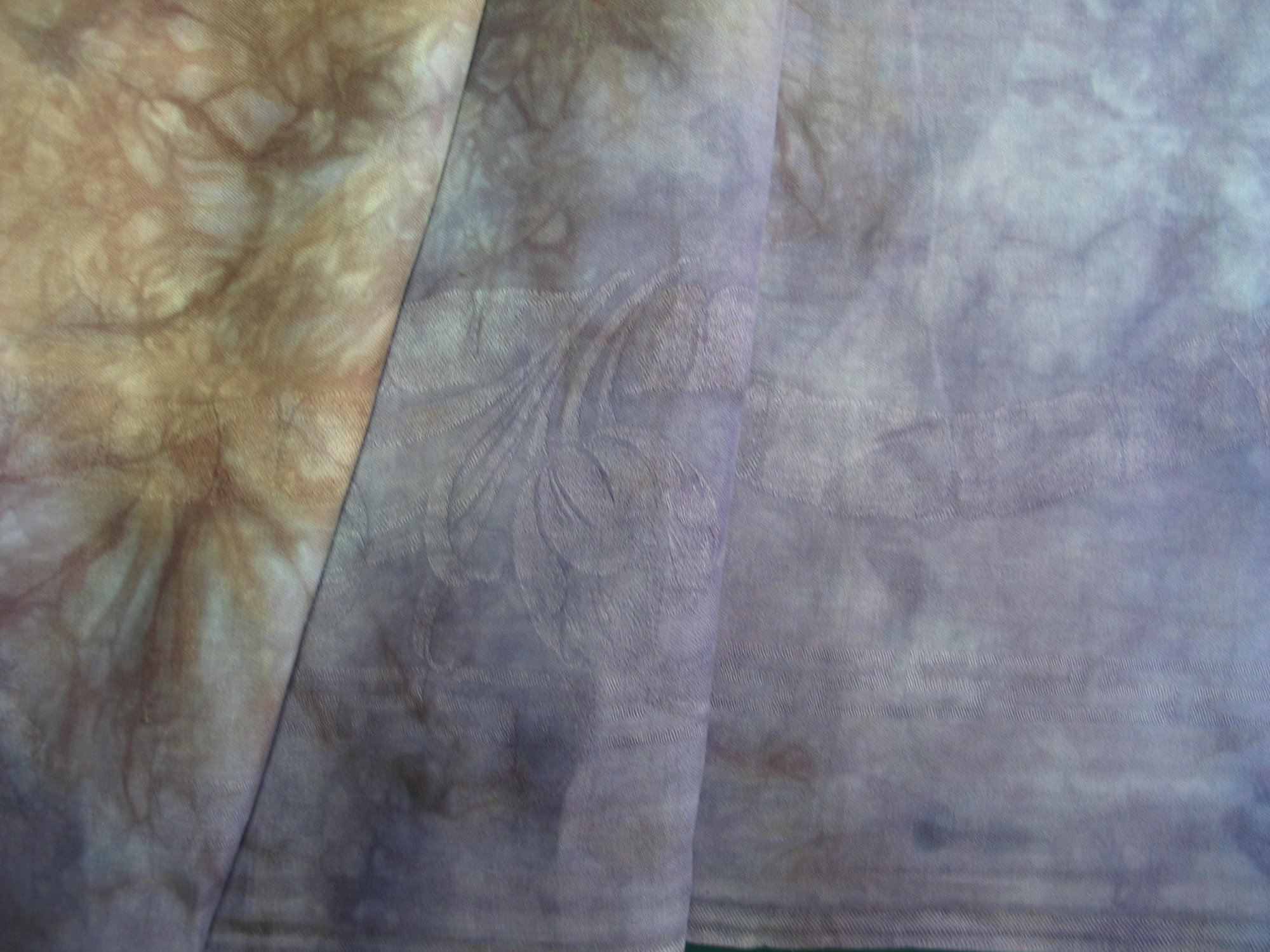 Overdyed Damask Tablecloth - Lavendar/Tan