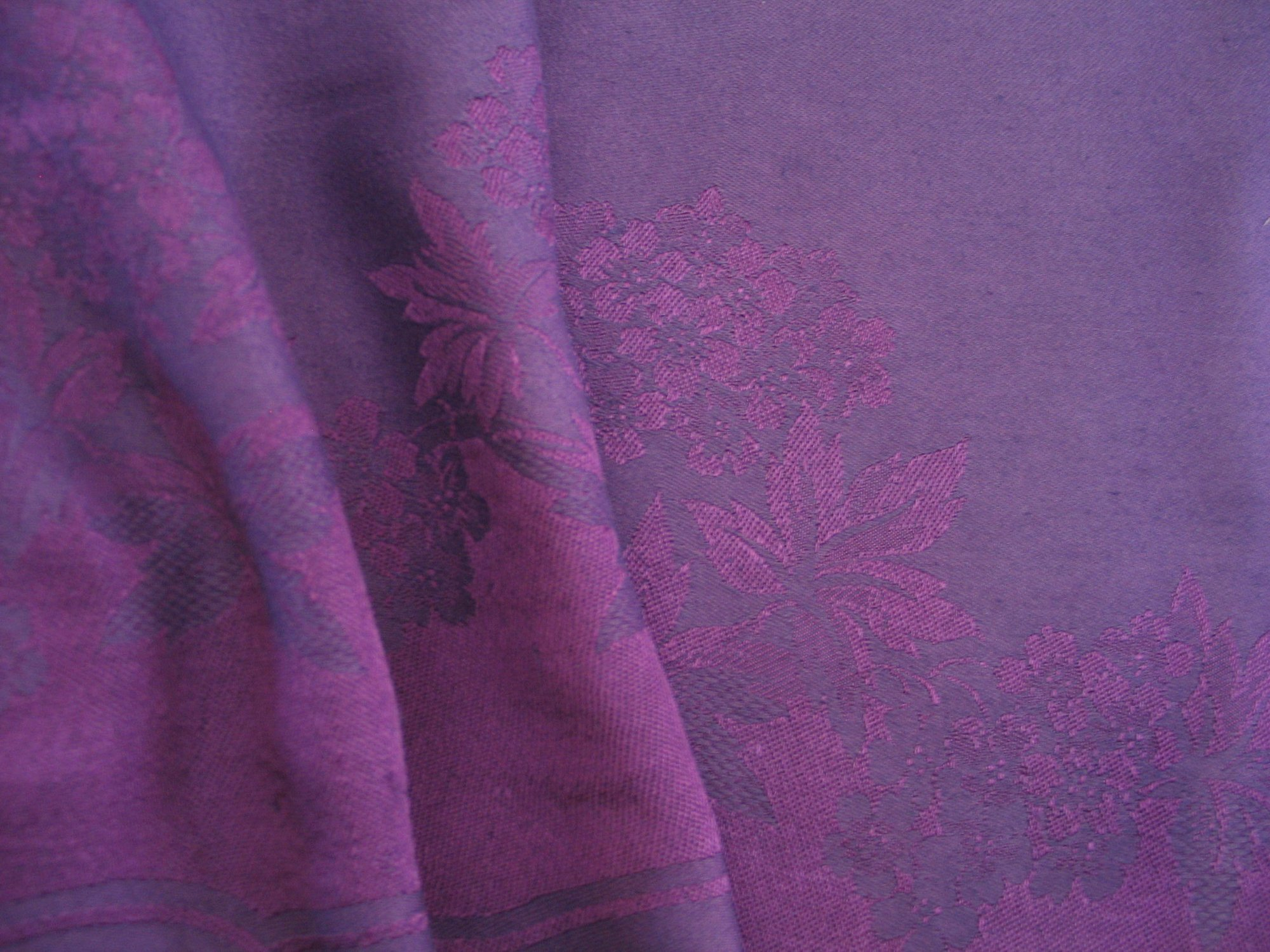 Overdyed Damask Tablecloth - Purple