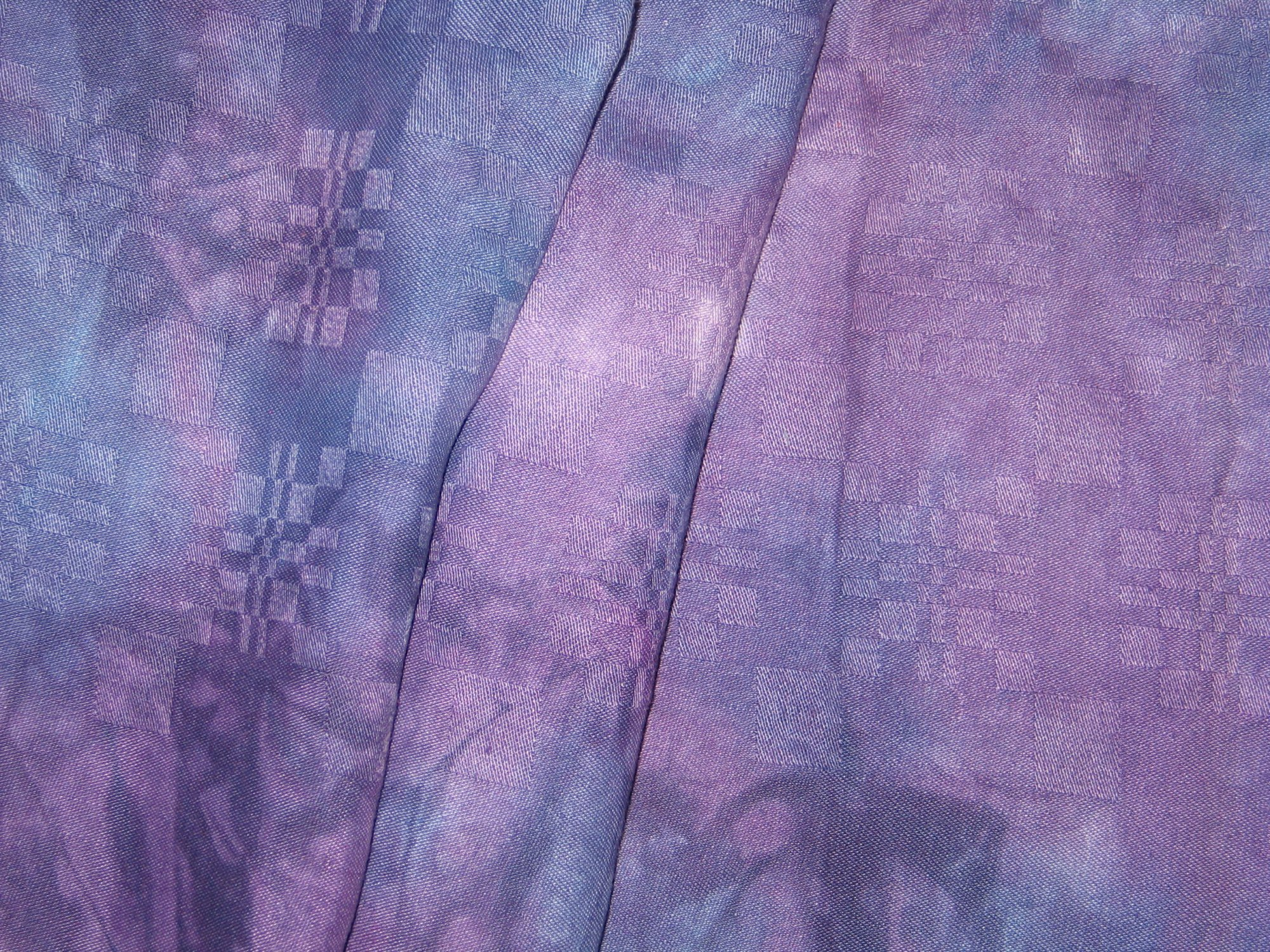 Overdyed Damask Tablecloth - Purple and Red Violet