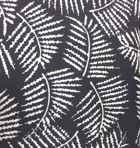 White Fern Leaves on Black Background Batik
