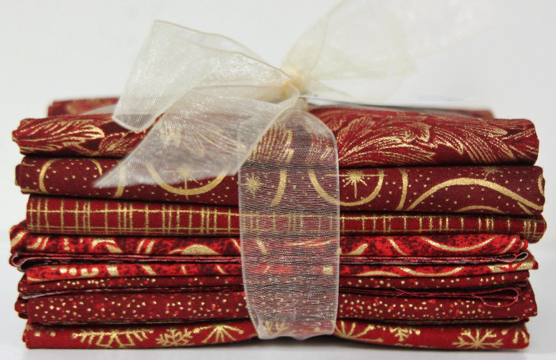 Christmas Red & Gold Prints Fat Quarter Pack