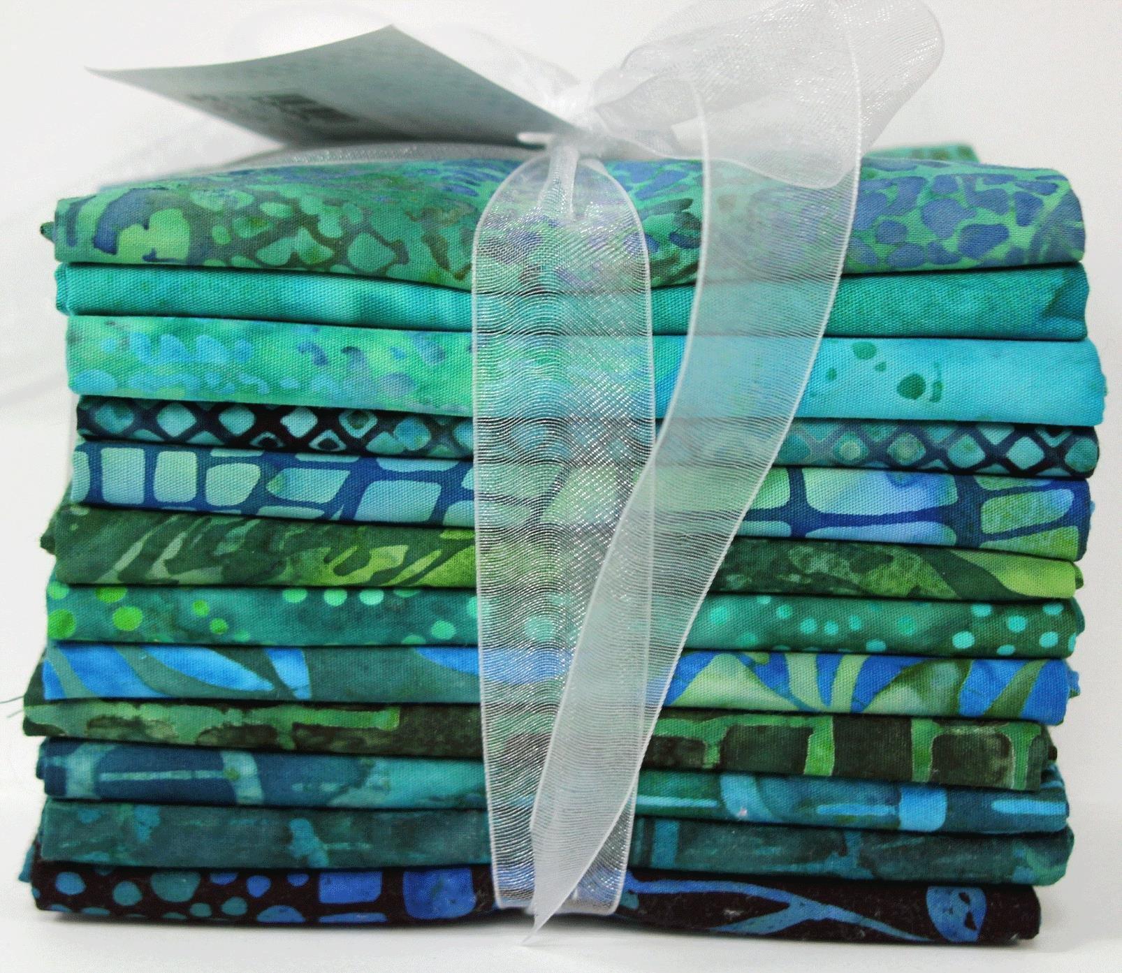 Free Fall Blue & Green Batik Fat Quarter Pack