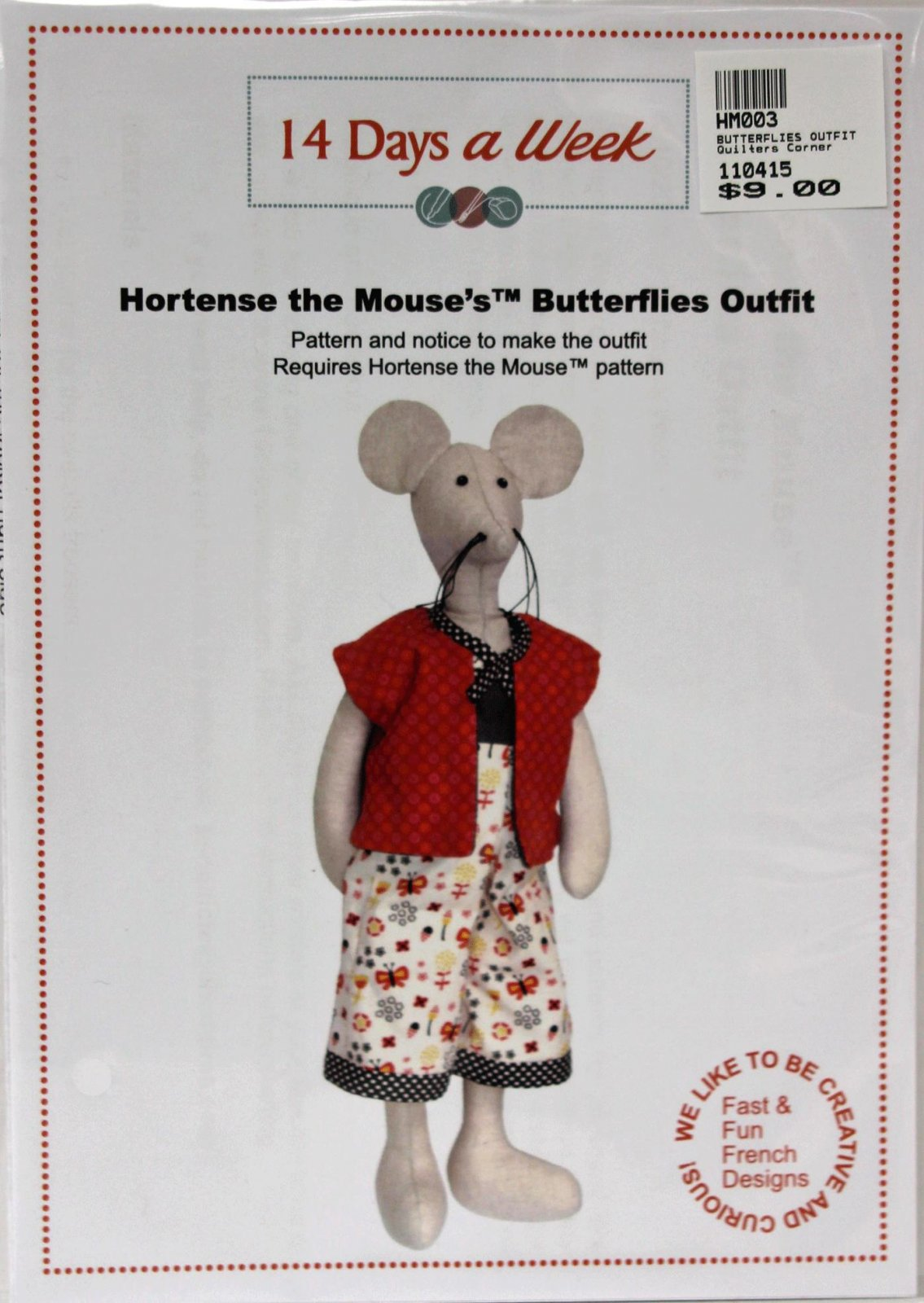Hortense the Mouse's Butterflies Outfit Pattern