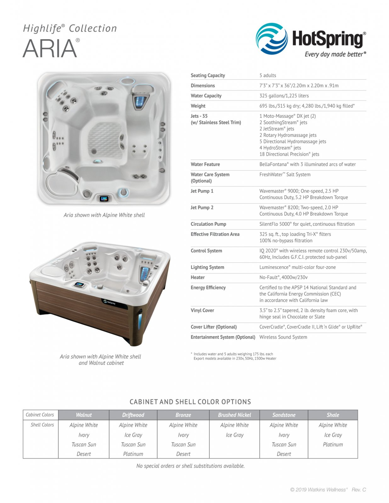 HotSpring Highlife Aria spa specs