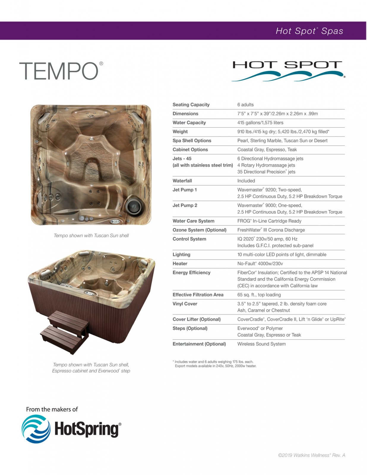 Tempo spa Tuscan Sun shell
