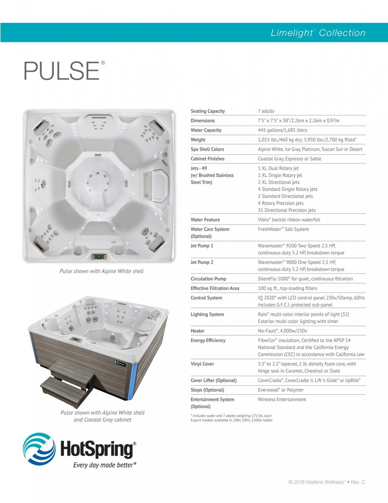 HotSpring Limelight Pulse specs