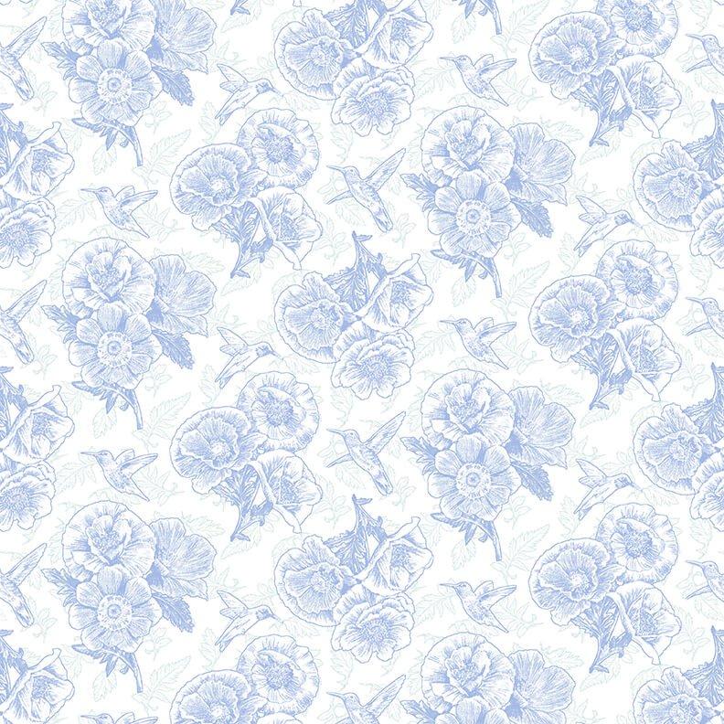 Poppy Meadow  - Linework Blue