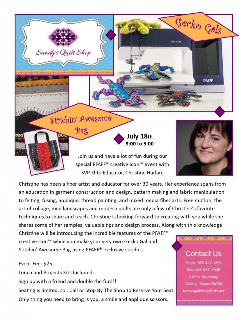 Are you interested in a machine that sews, quilts, monograms, embroideries, and MORE?!  Join us July 18th, 9am - 5 pm for a  PFAFF Creative Icon event.   Check out what the PFAFF® creative icon™ has to offer while making your very own Gecko Gal and Stitchin' Awesome Bag using PFAFF® exclusive stitches