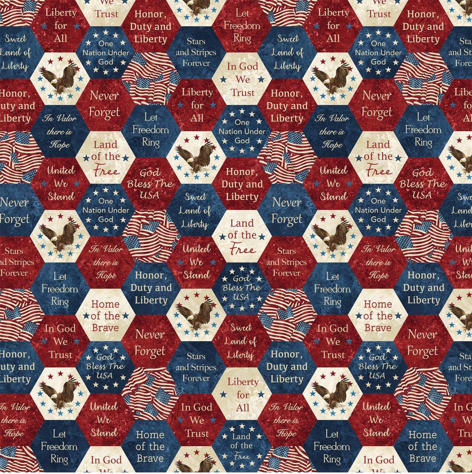 108 wide Stars and Stripes Digitally Printed Stonehenge