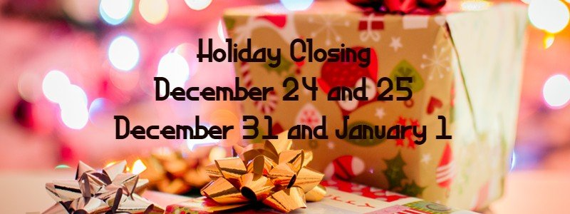 Closed December 24 and 25.  December 31 and January 1