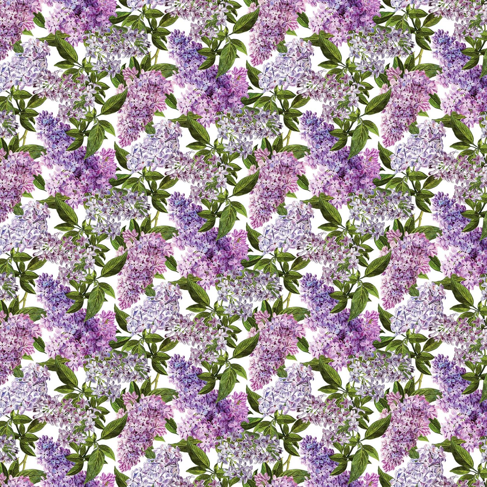 Chelsea - Digitally Printed Lilacs on White