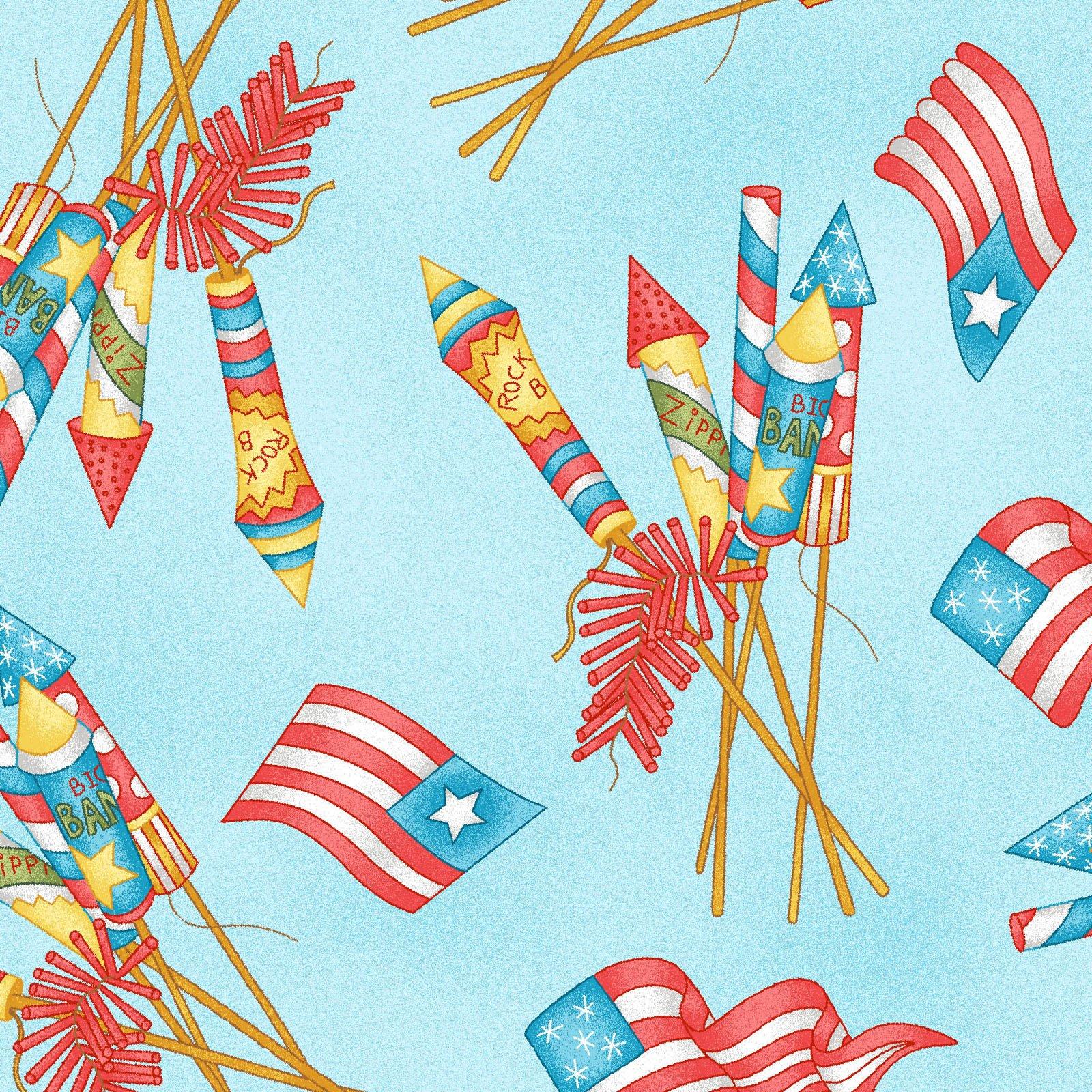 Back Porch Celebration -  Blue Vintage Fireworks